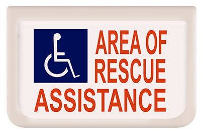 Sign,  Rescue Assistance, with Battery backup, on 2 sides