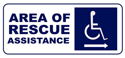 Sign, Area of Rescue, Right Arrow