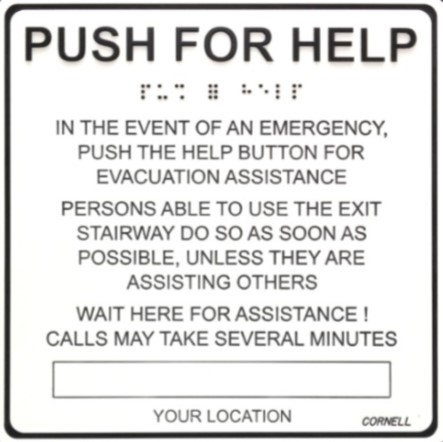 "Sign, Instructions, Luminescent, Push for Help 8"" x 8"""
