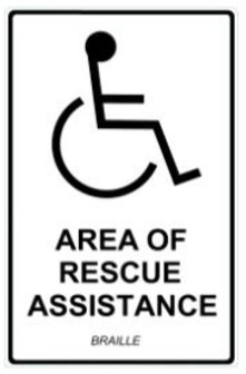 "Sign, Area of RESCUE, Luminescent, Braille 7"" x 11"""