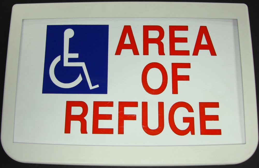 Sign,  Area of Refuge, with Battery backup, on 2 sides
