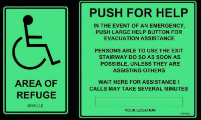 New Ada Area Of Rescue Signage Emergency Exit Signs